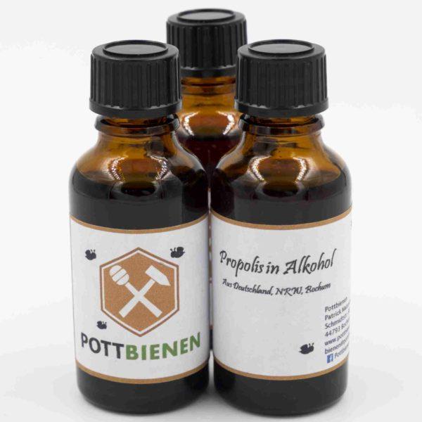 Bild von drei Tropfflaschen mit Propolislösung